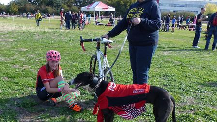 Colchester Rovers competitor Zoe Swainston – and well-dressed teammate - at the Colchester cyclocros