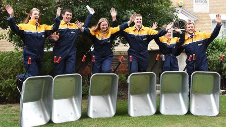 Essex Young farmers preparing for their wheelbarrow procession into Chelmsford Cathedral Picture: NI