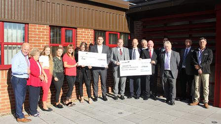 The ECA and KLH Architects hand over cheques to Nick Fayers Amend committee Picture: BARNES CONSTRU