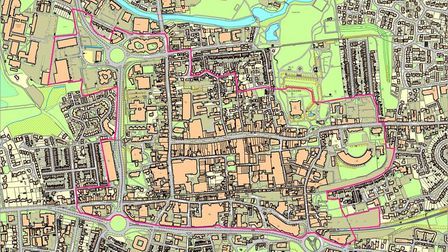 The pink border shows the area the BID can improve with its levy, and the businesses and organisatio