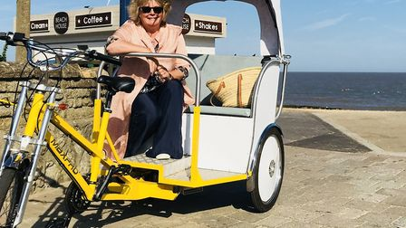 Woodbridge councillor Clare Perkins on a rickshaw earlier this year Picture: IAN LIGHTFOOT