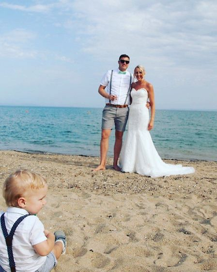 Bianca, Arthur and Owen on the couple's wedding day Picture: SUPPLIED BY FAMILY