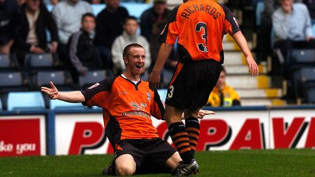 Dean Bowditch celebrates his goal as he was among the scorers in the Blues 2-1 win at Coventry City