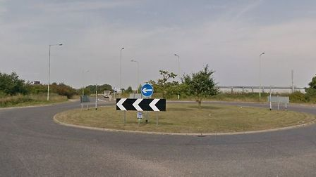 The roundabout leading from Benacre road where a HGV has broken down Picture: GOOGLE MAPS