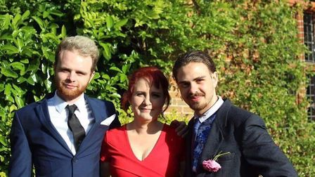 Cameron Ray (right) with brother Callum and mum Debra Wheelright