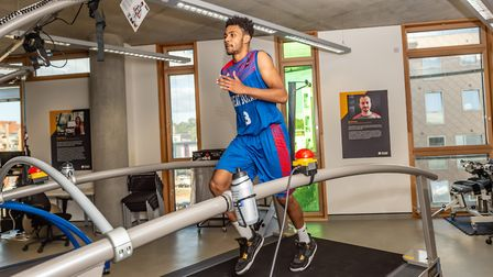 Veron Eze was the first athlete to test out the 'Beast' - a new �100,000 running machine at the Univ