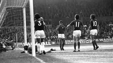 Bryan Hamilton scored as the Blues drew 1-1 with West Ham at Portman Road in 1972