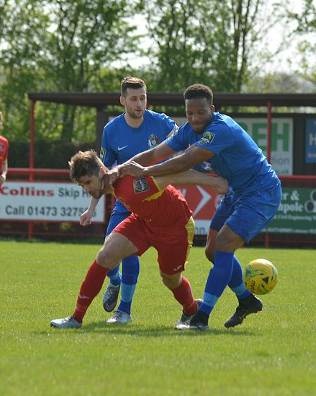 Jamie Griffiths, will be in action for Needham against Rushden this weekend. Picture: BEN POOLEY