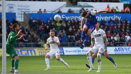 Gwion Edwards equalises for Ipswich at Swansea during the first half Picture Pagepix