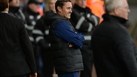 A smiling Paul Hurst before kick-off at Swansea City Picture Pagepix