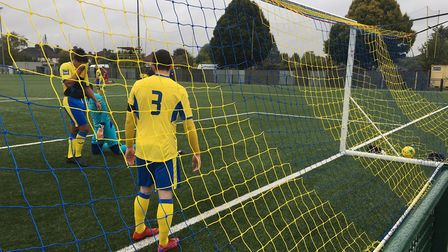 The ball is in the back of Haringey Borough's net after former Colchester United left-back Michael O
