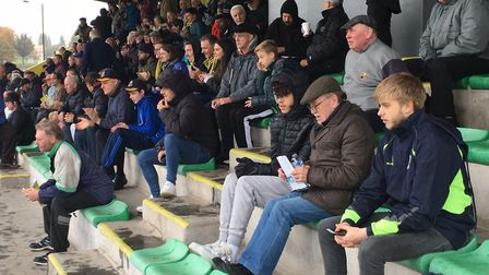 Spectators in the main stand before Saturday's FA Cup third qualifying round tie at Haringey Borough