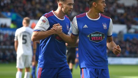 Gwion Edwards has a very subdued celebration with Andre Dozzell after he equalised for Ipswich at Sw