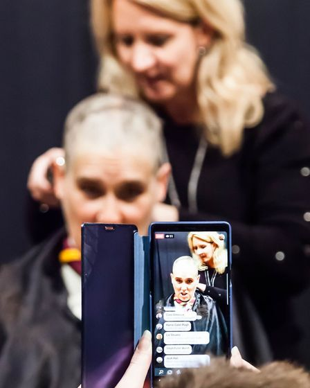 The event was shown live on Facebook where onlookers could watch Ruth's haircut. Picture: PETE INMAN