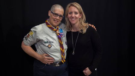 Ruth poses with hair dresser Helen Stockton after the chop. Picture: PETE INMAN
