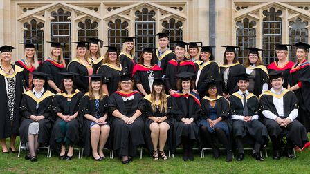 University of Suffolk graduates at West Suffolk College face the camera Picture: KEITH MINDHAM PHOTO