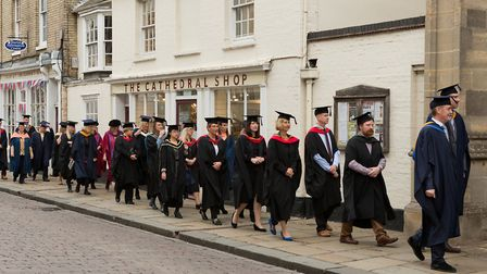 The student procession in Bury St Edmunds Picture: KEITH MINDHAM PHOTOGRAPHY
