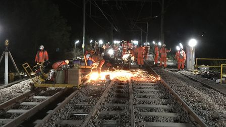 Network Rail has replaced track at Witham on the Great Eastern Main Line. Picture: NETWORK RAIL