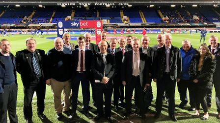 Suffolk FA Awards 2018 winners pictured on the pitch at Portman Road before the Ipswich versus Middl