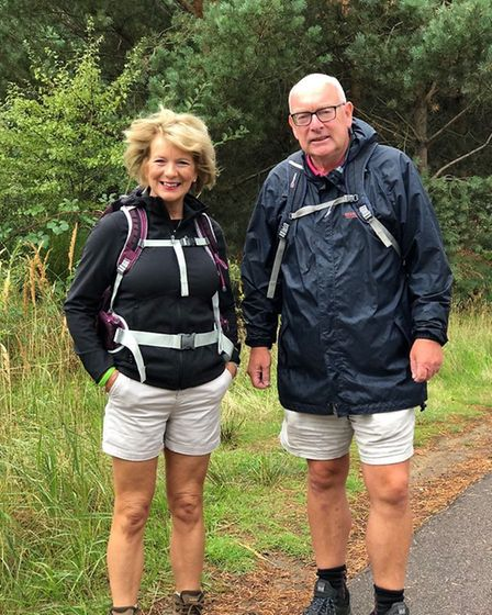 Terry Hunt and Karen Chamberlain in training for a 60-mile coastal walk to raise money for the difib
