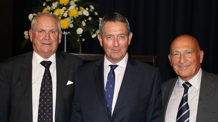 Graham Gooch, centre, at Copdock & OI CC Annual Presentation Evening with club President Ray East, l