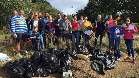 Volunteers from Fred. Olsen Ipswich litter-picked a section of foreshore on the River Orwell, in fro