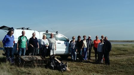 Volunteers at the Suffolk Wildlife Trust's litter pick at Simpsons Saltings Reserve at Hollesley Pic