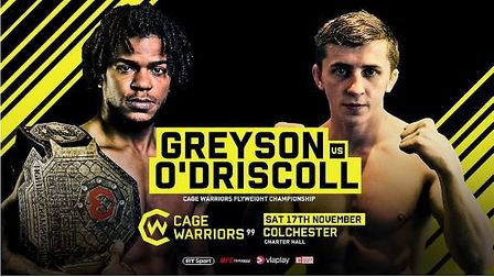 Nathan Greyson will defend his Cage Warriors flyweight title against Blaine O'Driscoll at Cage Warri