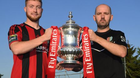 Brighlingsea captain Matt Cripps, left, with boss Tom Rothery and the FA Cup ahead of their clash wi