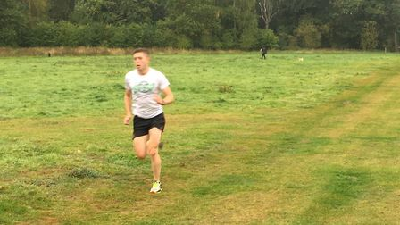 Scott Williams, of Stowmarlet Striders, on his way to first place at Saturday's Bury St Edmunds park