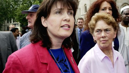 Michelle Distin (left), the sister of Barry George, with his mother Margaret, emerge from the High C