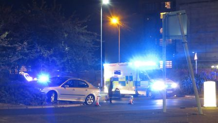 Suffolk Constabulary and East of England Ambulance arrived on the scene at around 7pm Picture: DAREN