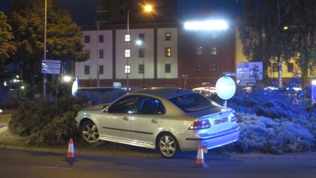 The silver car crashed into the roundabout on Sunday evening Picture: DAREN JENNINGS