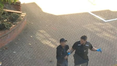 Man being arrested at Turrett Lane Picture: CONTRIBUTED