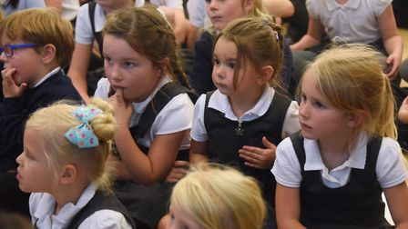 Bildeston Primary School children enjoy the sing along with tunes from the 60s as part of the celebr