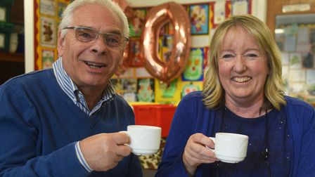 Bildeston Primary School head, Lynne Golding, and governor Alan Jacobs, chat over a cuppa at the sch