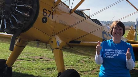 Lyn Spall carried out a wing walk in memory of her husband Don Picture: SUPPLIED BY FAMILY