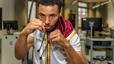 Boxer Reece Catermole in the University of Suffolk Sports Science Hub Laboratory. Picture: PAVEL KRI