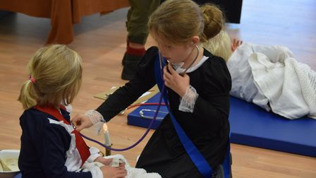 Some children took on roles as nurses and patients to learn more about Nightingale's role in the Cri