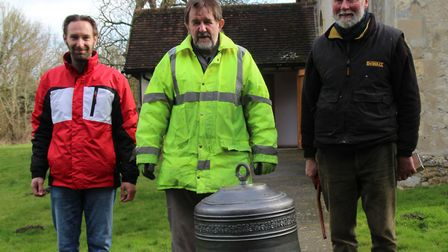 The bell arriving at the church this year with delivery man from Taylors Foundry in Loughborough (le