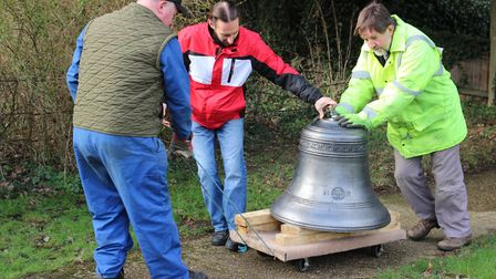 The bell on its way into the church Picture: MIKE BOLTON