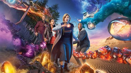 Doctor Who. Pictured: (L-R) Bradley Walsh as Graham, Mandip Gill as Yaz, Jodie Whittaker as The Doct