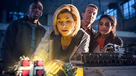 Doctor Who. Pictured: (L-R) Tosin Cole as Ryan, Jodie Whittaker as The Doctor, Bradley Walsh as Grah