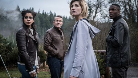 Doctor Who. Pictured: (L-R) Mandip Gill as Yaz, Bradley Walsh as Graham, Jodie Whittaker as The Doct