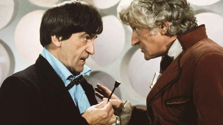 Jon Pertwee and Patrick Troughton as Dr Who in The Three Doctors 1973. Photo BBC