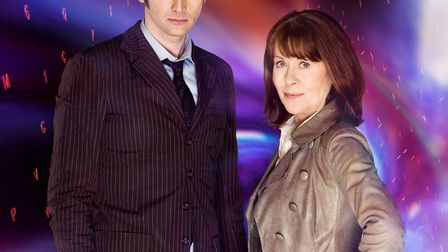The Doctor (David Tennant) and Sarah Jane Smith (Elisabeth Sladen) a companion who returned to the s