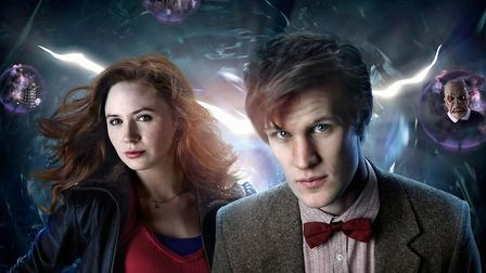 Doctor Who Picture shows: (l-r) KAREN GILLAN as Amy Pond, MATT SMITH as the Doctor. Background creat