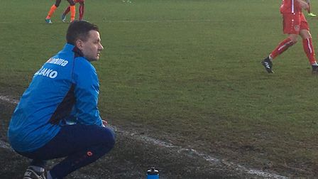 Braintree Town boss, Brad Quinton, pictured during the Iron's win in the play-offs at Hemel Hempstea