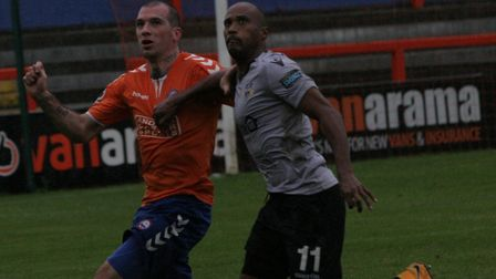 Joe Ellul, left, keeps focused during Braintree Town's defeat to Eastleigh. The Iron went down 2-1 a