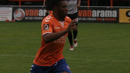 Jon Muleba on the ball for Braintree Town against Eastleigh on Saturday. The Iron are now managerles